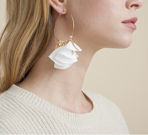 MARLY HOOP EARRINGS GOLD WHITE