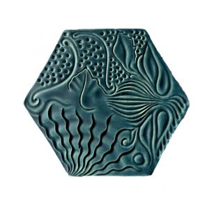 CERAMIC COASTER GAUDI PANOT GREEN BLUE