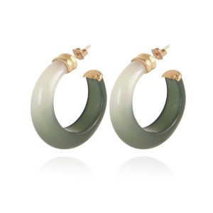ABALONE EARRINGS ACETATE GOLD GREEN