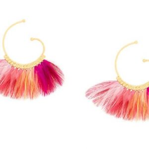 BUZIOS HOOP FEATHER EARRINGS GOLD PLATED