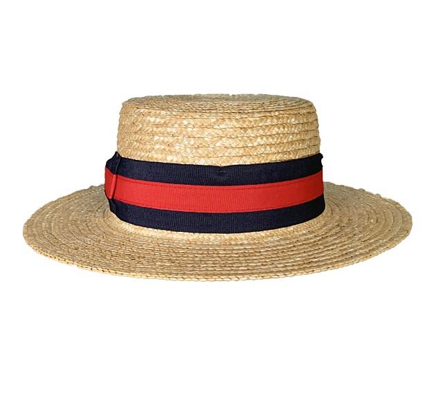 RED-NAVY CANOTIER STRAW HAT