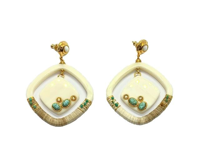 AURA WHITE ACETATE EARRINGS GOLD PLATED