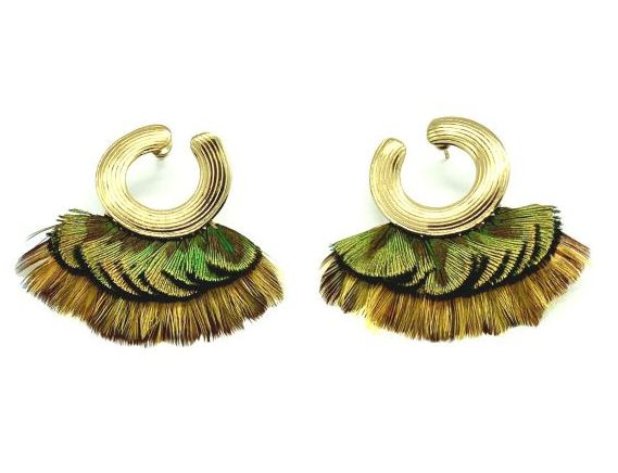 POSITANO FEATHER GOLD PLATED EARRINGS