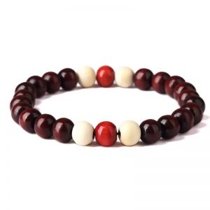 WOODEN STONES DARK RED BRACELET